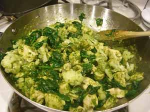 square foot gardening Cauliflower pesto